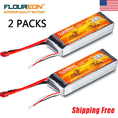 2x 7.4V 6200mAh 40C 2S2P Deans LiPo Battery For RC Car Truck Airplane Drone FPV