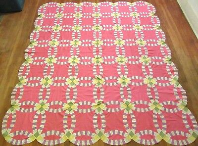 "Vintage Handmade Pink & Purple Double Wedding Ring Quilt Top - 96"" x 83"""