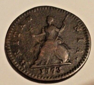 1773 Colonial Farthing Km# 602 Copper  Great Britain