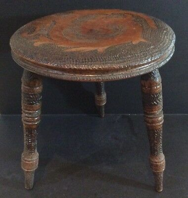 Antique c.1900's Wooden Poker Work 3 Legged Milking Stool Chinese Dragon Design
