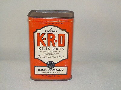 Vtg K-R-O Rat Killer Poison Tin, Sealed, Cardboard Sides,Paper Label, NOS