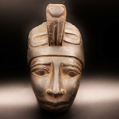 Stunning Large Antique Egyptian Pharaoh Mask Bust Figure