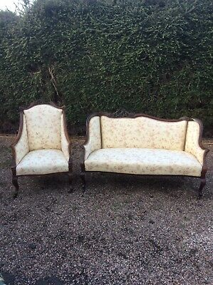 Antique 2 Piece Parlour Suite Victorian Sofa And Side Chair