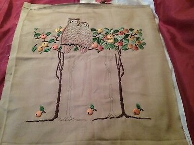 Vintage large picture to finish embroidering 2 owls in fruit trees