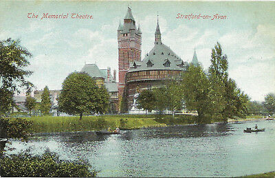 Vintage postcard, The Memorial Theater on the river, Stratford on Avon, UK