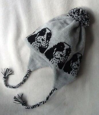 COCKER SPANIEL dog NEW knitted lined Grey ADULT TRAPPER EAR FLAP HAT