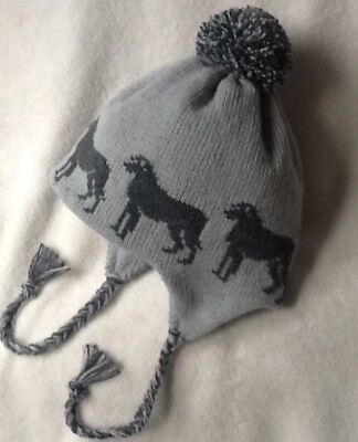 IRISH WOLFHOUND/DEERHOUND dog NEW knitted lined GREY  ADULT TRAPPER EAR FLAP HAT