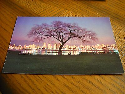 Vintage Canada Vancouver Skyline at night Pre-Posted Postcard