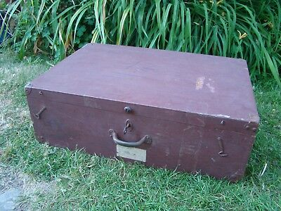 Vintage Wooden Carpenters Joiners Tool Box With Working Key Lock
