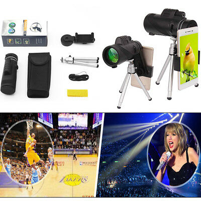 40X60 Zoom Monocular Telescope HD Optical Lens+Tripod+Clip For Mobile Cell Phone