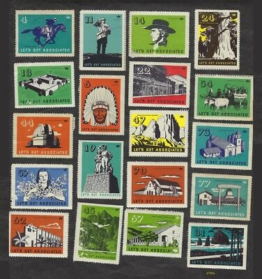 """25 TideWater Oil Co. - Flying """"A"""" gas - """"Let's Get Associated"""" - poster stamps"""
