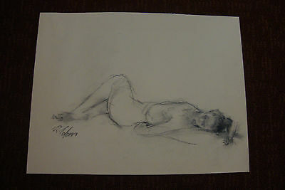 Nude Vintage  Charcoal  Drawing Zolan