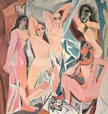"1960 Art Print ""Les Demoiselles D'Avignon"" Abstract By Picasso Free Shipping"