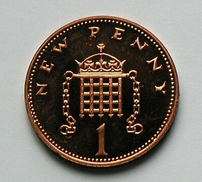 1981 UK (British) Coin - 1 New Penny - AU++ toned-lustre (from proof mint set)
