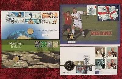 Lot of 4 x FDC First Day Cover Inc £1 £5 FIVE / ONE POUNDS COINS Royal Mint Mail