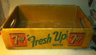 1950s 7 UP soda Pop Case Carton Bottle Container Box advertising sign carrier