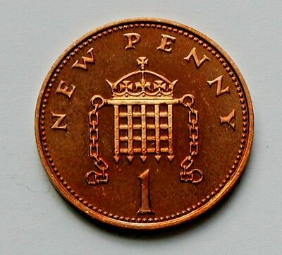 1975 UK (British) Coin - 1 New Penny - AU++ toned-lustre (from mint set)