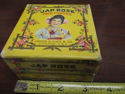 Rare Vintage 1920s Jap Rose Face Powder Japanese Geisha Litho Box James S Kirk