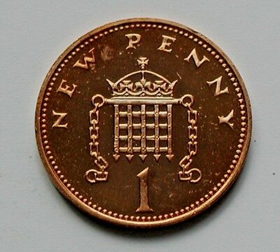 1977 UK (British) Coin - 1 New Penny - AU++ toned-lustre (from mint set)