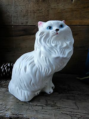 """GREAT Vtg Plaster White Persian Cat Bank Made in Mexico  H 13"""""""
