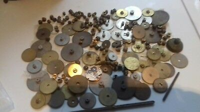 Vintage clock parts wheels cogs nice lot