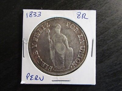 1833 Lima MM Peru Silver 8 Reales in F Condition