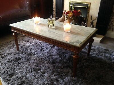 giltwood and marble coffee table