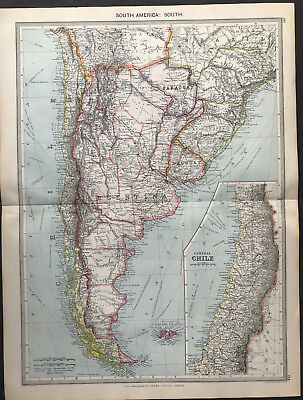 Antique Map SOUTH AMERICA - SOUTH 1906 Original litho color, with Central CHILE