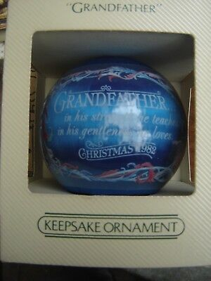 Vintage 1982 Hallmark Keepsake Satin Ball Christmas Ornament Grandfather w box