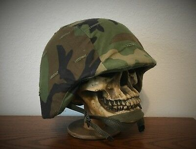 GENUINE US MILITARY PASGT COMBAT HELMET  - made w/ KEVLAR - US ARMY USMC