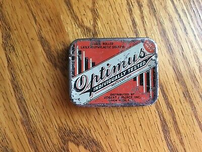 Vintage Optimus Prophylactics Tin with Two Prophylactics