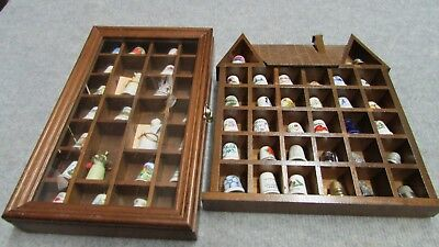 Lot Of 60 Vintage Thimbles ~ Bone China Porcelain Advertising Rare +Wood Cases