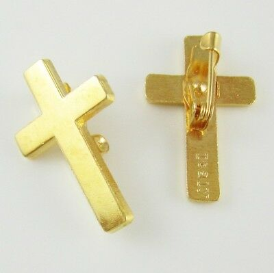 Joblot of 30 X  24K Gold Plated Christian Cross Lapel Pins - 24 Karat Religious