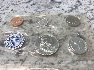 1957 US Coin Proof Set 90% Silver 1c to 50c from the Philadelphia Mint