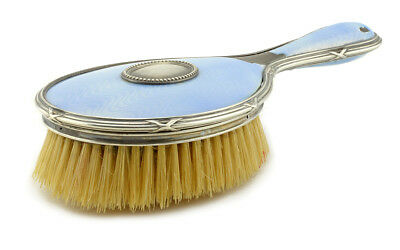 An Antique Imperial Russian FABERGE 91 Silver & Blue Guilloche Enamel Hairbrush