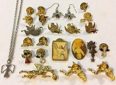 Lot Of 23 Pieces Vintage ANGEL Jewelry- Pins Earrings Necklace- Angel Religious