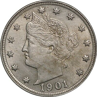 1901 Liberty V Nickel 5c, About Uncirculated AU Cleaned