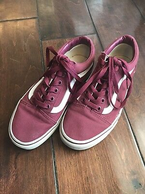 b3459ae5960421 Vans Womens Maroon Red   White Classic Canvas Casual Lace Up Sneaker Shoes 5