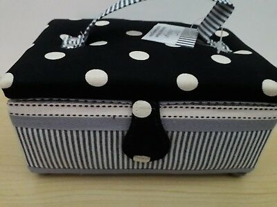 BNWT-Hobby Gift-Small-Polka Dots and Stripes Design Fabric Covered Sewing Box