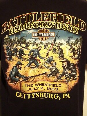 BATTLEFIELD Harley-Davidson Gettysburg Pa. Black Short Sleeve Large