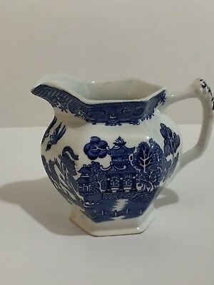 Vintage Blue Willow Woods Ware Wood & Sons England Creamer Pitcher