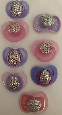 BLINGY Pink/ Purple/Blue 💙DUMMY PACIFIER SOOTHER + MAGNET FOR REBORN BABY DOLL