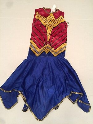 Wonder Woman Costume Dress Teen Large Girls NWT Gold Lame 1 Piece Red Blue New