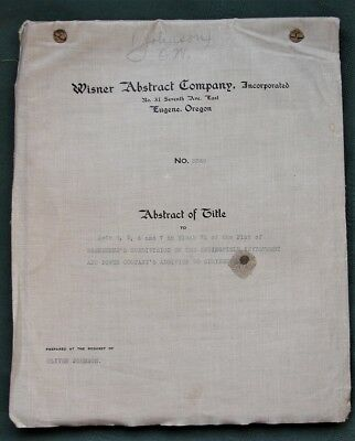 Springfield Oregon Washburne District orig 1914 Abstract of Title for 4 Lots