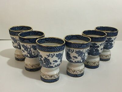 Vintage Lot 6 Double Booths Real Old Willow England China Egg Cups Blue Gold