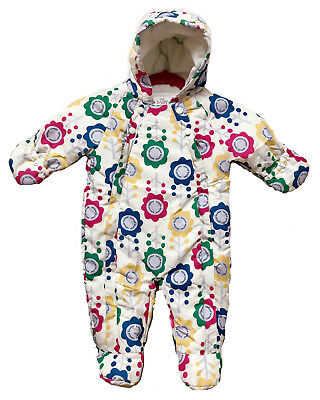 M&S Baby Girl White Floral Quilted Snowsuit Pramsuit Stormwear All in one NB-18m