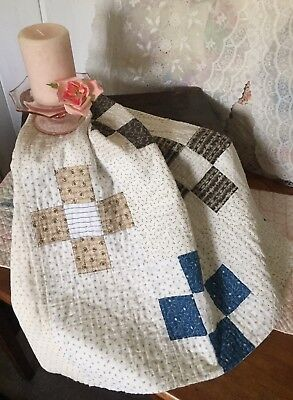 Antique 1800's Vintage Old Nine Patch Early Blue Brown Patchwork Quilt Piece #1