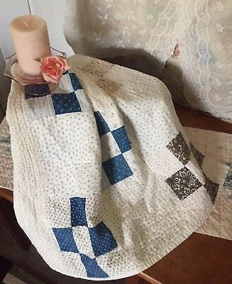 Antique 1800's Vintage Old Nine Patch Early Blue Brown Patchwork Quilt Piece #2
