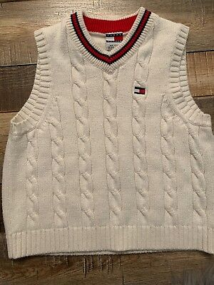 Tommy Hilfiger Boys CreamWhite Pull Over Sweater Vest Toddler Size 4 Knitted
