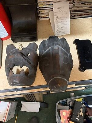 Pair Of Native American Indian Decorative Wooden Face  Mask